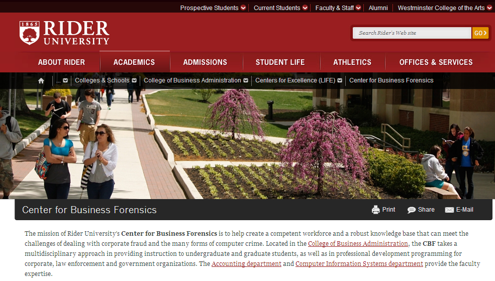 Rider Universitys Center for Business Forensics
